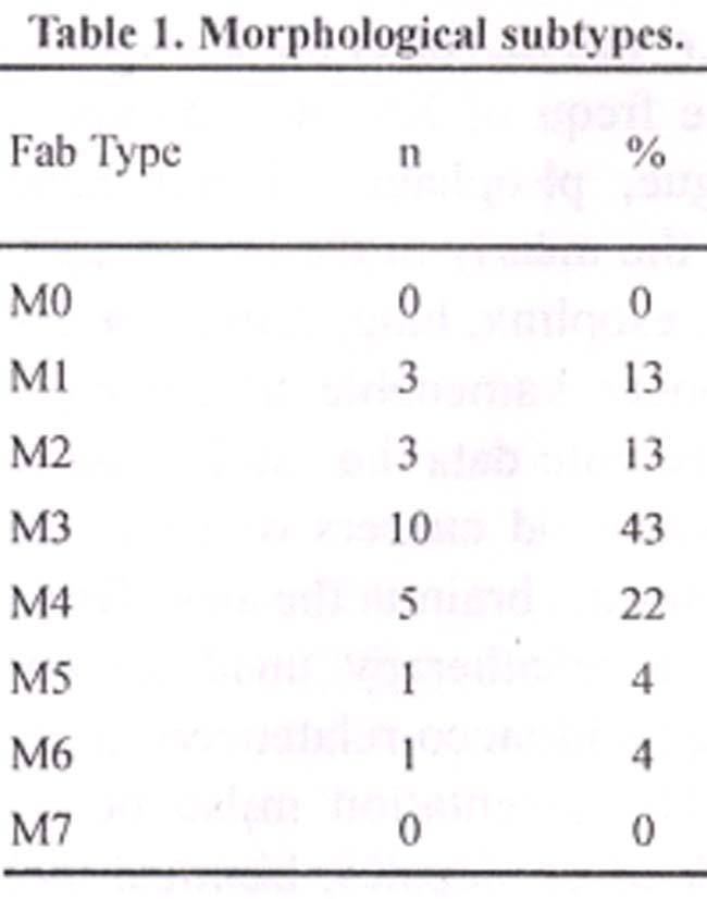 of myelogenous Subtypes leukemia adult