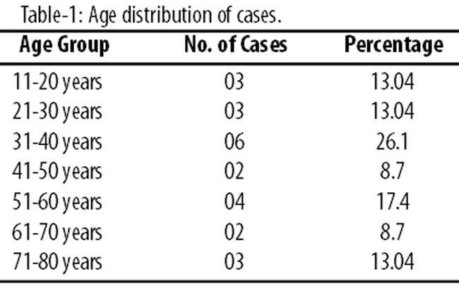Twelve (52.17%) patients were below 40 years of age or younger and 11  (47.83%) were over 40 years of age (Table).
